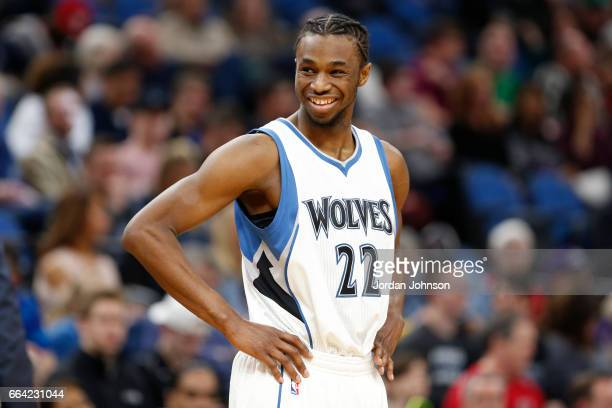 Andrew Wiggins of the Minnesota Timberwolves smiles during the game against the Portland Trail Blazers at the Target Center in Minneapolis Minnesota...