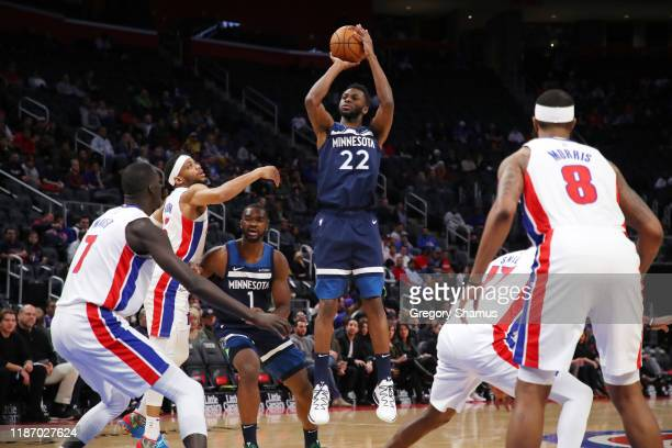Andrew Wiggins of the Minnesota Timberwolves takes a first half jump shot while playing the Detroit Pistons at Little Caesars Arena on November 11...