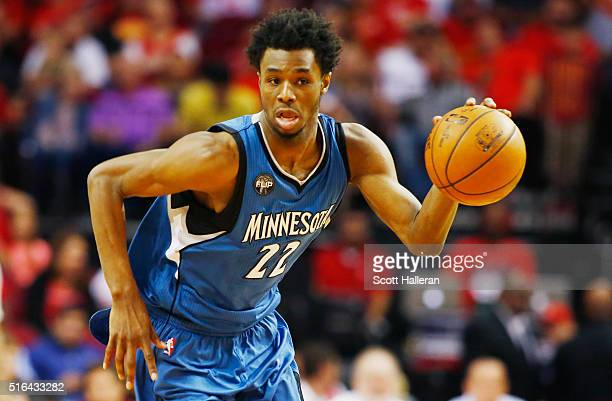 Andrew Wiggins of the Minnesota Timberwolves takes the basketball up the court during their game against the Houston Rockets at the Toyota Center on...