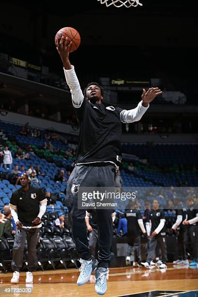Andrew Wiggins of the Minnesota Timberwolves warms up before facing off against the Oklahoma City Thunder during a preseason game on October 7 2015...