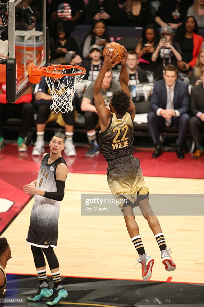 Andrew Wiggins of the World Team dunks against the USA Team during ... 65970b8bc