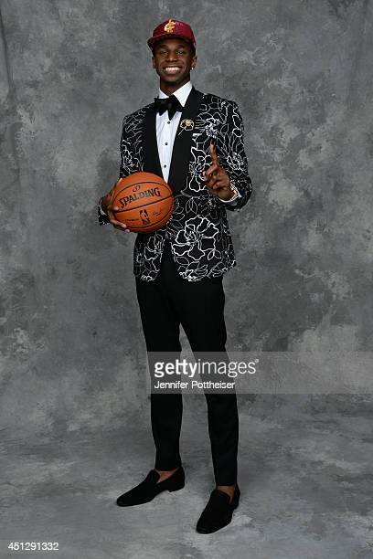 Andrew Wiggins, the first pick overall in the NBA Draft by the Cleveland Cavaliers, poses for a portrait during the 2014 NBA Draft at the Barclays...