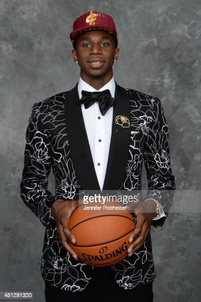 Andrew Wiggins the first pick overall in the NBA Draft poses for a portrait during the 2014 NBA Draft at the Barclays Center on June 26 2014 in the...