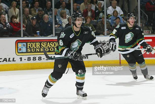 Andrew Wilkins of the London Knights skates against the Saginaw Spirit at the John Labatt Centre on September 22, 2006 in London, Ontario, Canada.