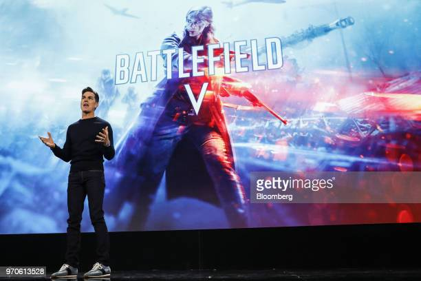 Andrew Wilson chief executive officer of Electronic Arts Inc speaks about the Battlefield V video game during the company's EA Play event ahead of...