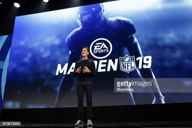 Andrew Wilson chief executive officer of Electronic Arts Inc speaks about the Madden NFL 19 football video game during the company's EA Play event...