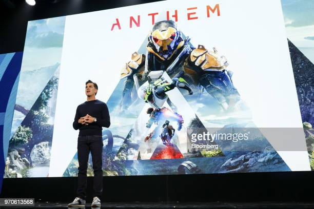 Andrew Wilson chief executive officer of Electronic Arts Inc speaks about the Anthem video game during the company's EA Play event ahead of the E3...