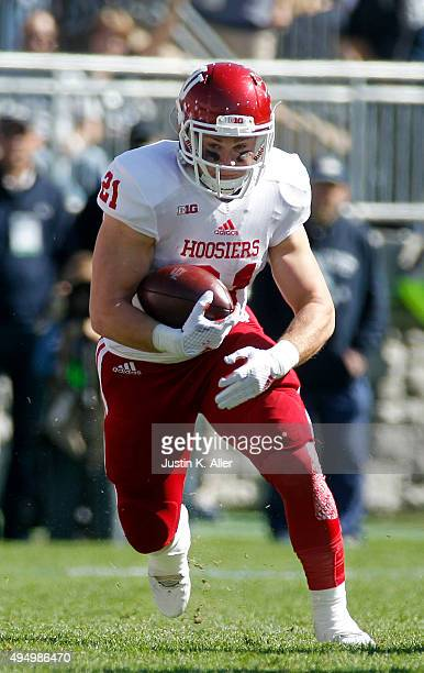 Andrew Wilson of the Indiana Hoosiers in action during the game against the Penn State Nittany Lions on October 10, 2015 at Beaver Stadium in State...