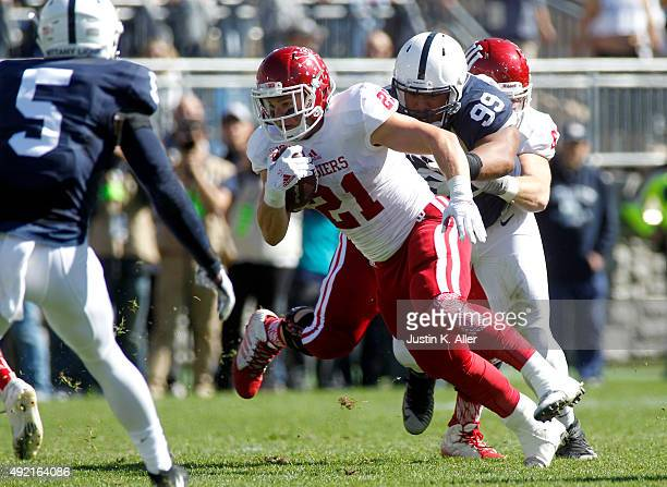 Andrew Wilson of the Indiana Hoosiers rushes in the first half during the game against the Penn State Nittany Lions on October 10 2015 at Beaver...