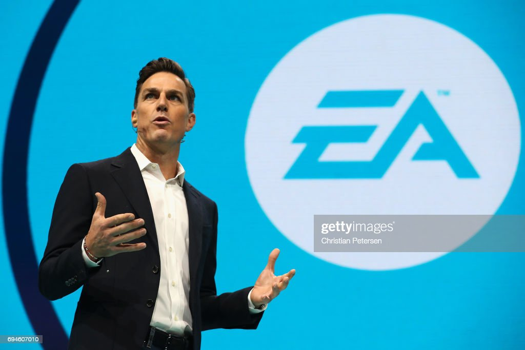 Andrew Wilson speaks during the Electronic Arts EA Play event at the Hollywood Palladium on June 10, 2017 in Los Angeles, California. The E3 Game Conference begins on Tuesday June 13.