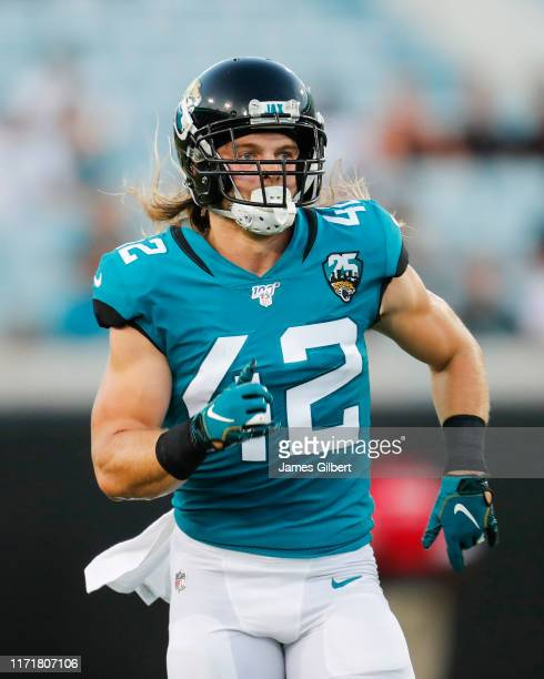 Andrew Wingard of the Jacksonville Jaguars in action during a preseason game against the Atlanta Falcons at TIAA Bank Field on August 29 2019 in...