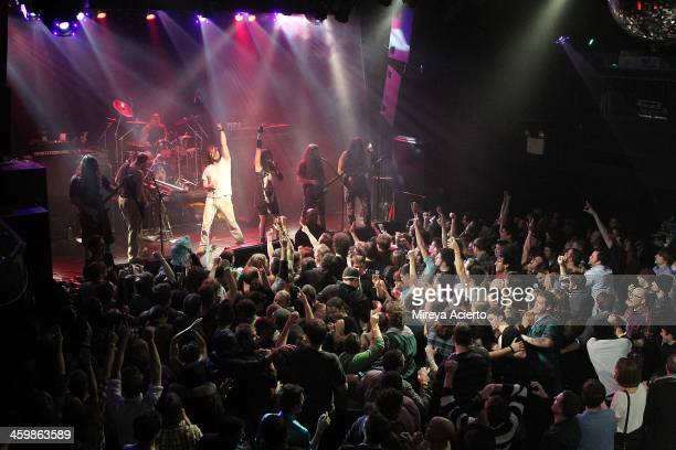 Andrew WK and his band perform at 'Get Wet' a New Year's Eve party at Irving Plaza on December 31 2013 in New York City