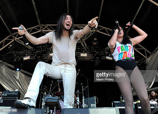 Andrew WK and wife Cherie Lily perform on stage at the Melbourne Big Day out at Flemington racetrack on Sunday 30th January 2011 in Melbourne...