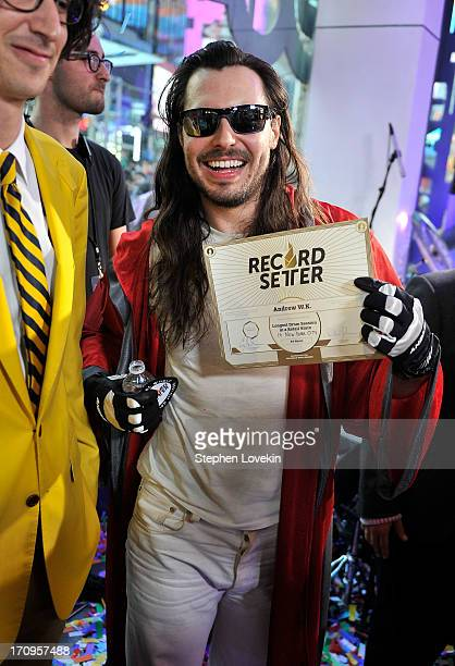 Andrew WK breaks world record for drumming in a retail store in New York during the MTV VH1 CMT LOGO 2013 O Music Awards on June 20 2013 in New York...