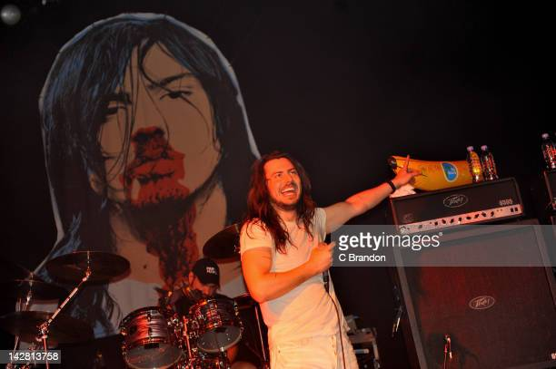 Andrew WK performs on stage at HMV Forum on April 12 2012 in London United Kingdom
