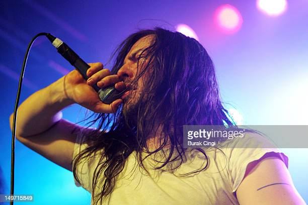 Andrew WK performs on stage at Kings College London Student Union on August 2 2012 in London United Kingdom