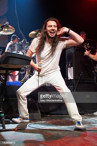 Andrew WK performs on stage at Manchester Academy on April 13 2012 in Manchester United Kingdom