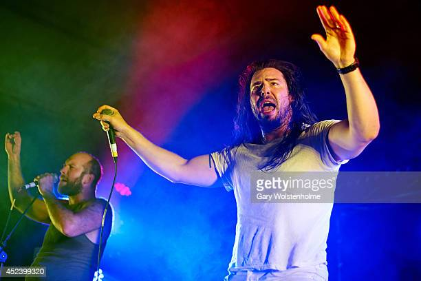 Andrew WK performs on stage at Truck Festival at Hill Farm on July 19 2014 in Steventon United Kingdom