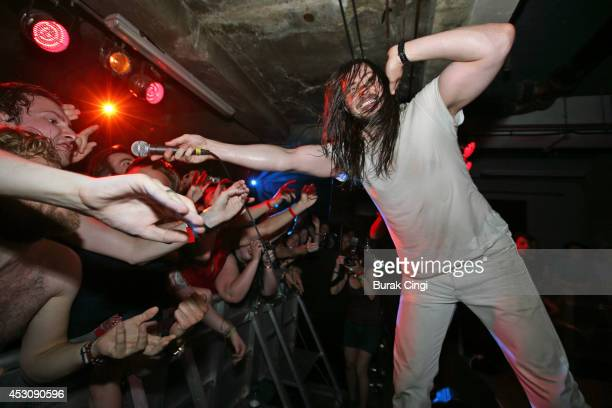 Andrew WK performs on stage at Visions Festival at The Laundry on August 2 2014 in London United Kingdom