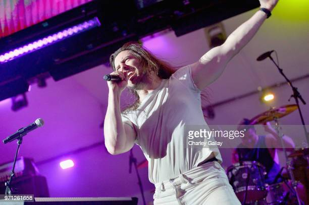 Andrew WK performs onstage as Bethesda Softworks shows off new video game experiences at its E3 Showcase and at The Event Deck at LA LIVE on June 10...