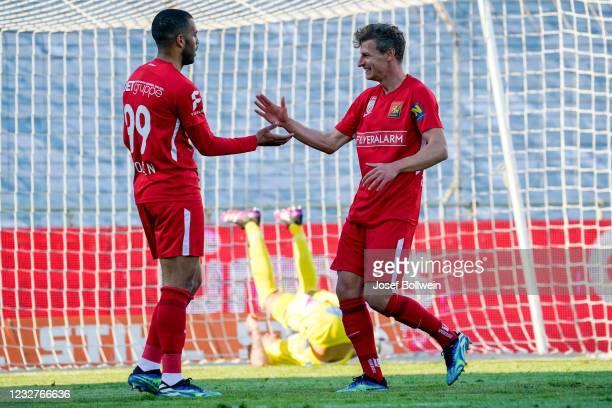 Andrew Wooten and Roman Kerschbaum of Admira celebrate after scoring a goal during the tipico Bundesliga match between FC Admira Wacker and SKN St....