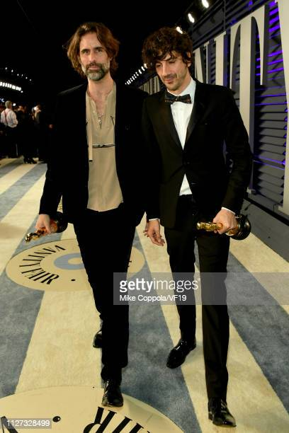 Andrew Wyatt and Anthony Rossomando winners Best Music award for 'Shallow' from 'A Star Is Born' attend the 2019 Vanity Fair Oscar Party hosted by...