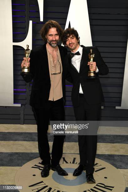 Andrew Wyatt and Anthony Rossomando winners Best Music award for 'Shallow' from 'A Star Is Born' attend 2019 Vanity Fair Oscar Party Hosted By...