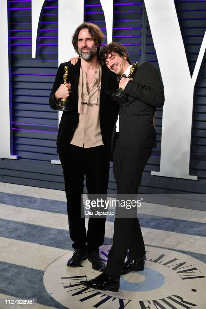 Andrew Wyatt and Anthony Rossomando winners of Best Music attend the 2019 Vanity Fair Oscar Party hosted by Radhika Jones at Wallis Annenberg Center...