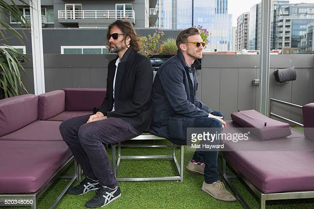 Andrew Wyatt and Pontus Winnberg of Miike Snow pose for a photo before performing an EndSession hosted by 1077 The End at Hard Rock Cafe Seattle on...