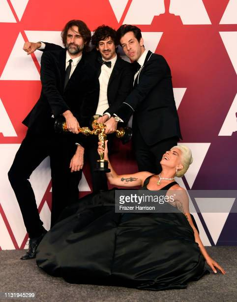Andrew Wyatt Anthony Rossomando Lady Gaga and Mark Ronson winners of Best Original Song for Shallow from A Star is Born pose in the press room during...