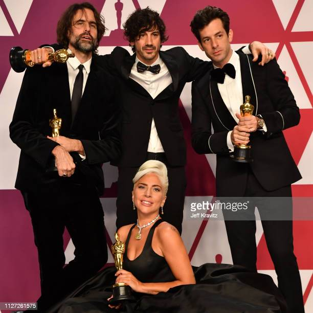 Andrew Wyatt Anthony Rossomando Mark Ronson and Lady Gaga winners of Best Original Song for 'Shallow' from 'A Star is Born' pose in the press room...