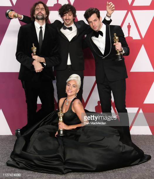 Andrew Wyatt Anthony Rossomando Mark Ronson and Lady Gaga winners of Best Original Song for 'Shallow' from 'A Star is Born' pose in the press room at...