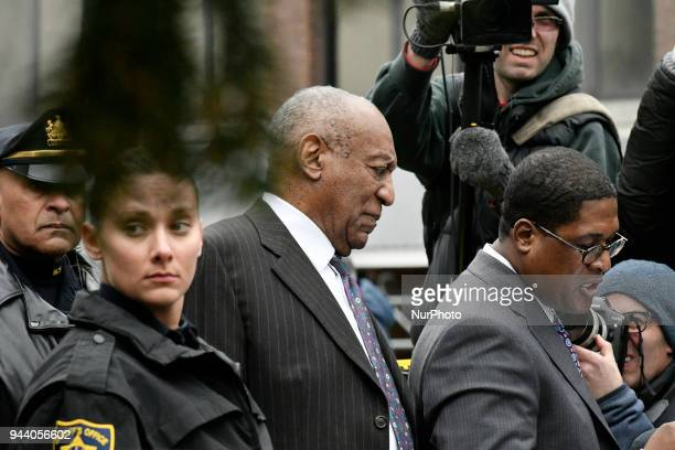 Andrew Wyatt Bill Cosbys spokesperson reads a statement outside Montgomery County Courthouse in Norristown PA on April 9 2018 on the first day of the...