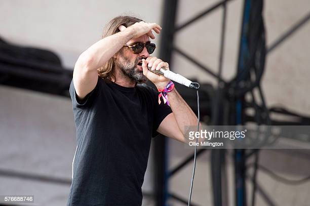 Andrew Wyatt Blakemore of Miike Snow performs onstage on Day 2 of Lovebox Festival 20016 at Victoria Park on July 16 2016 in London England