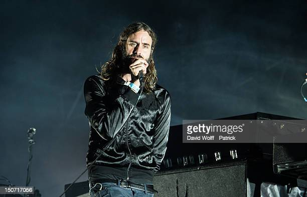 Andrew Wyatt from Miike Snow performs at Rock En Seine Festival 10th Anniversary on August 24 2012 in Paris France