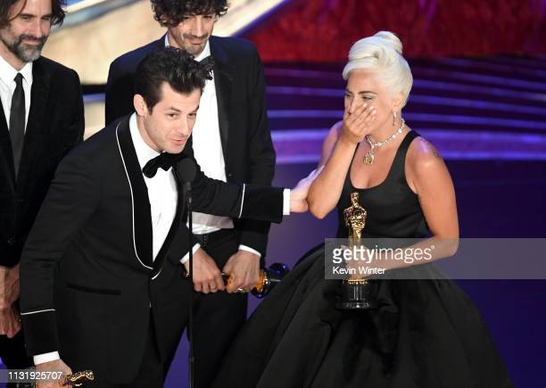 Andrew Wyatt Mark Ronson Anthony Rossomando and Lady Gaga accept the Music award for 'Shallow' from 'A Star Is Born' onstage during the 91st Annual...