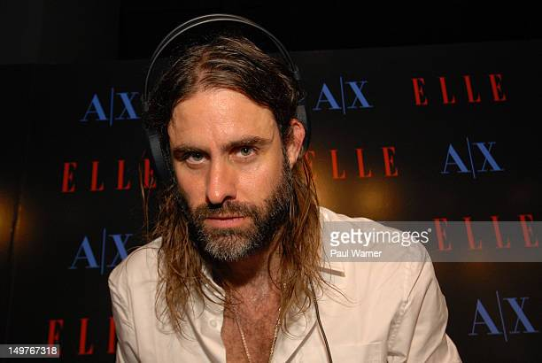 Andrew Wyatt of Miike Snow attends A X ELLE Magazine STYLEPALOOZA during Lollapalooza 2012 at the Armani Exchange on August 2 2012 in Chicago Illinois