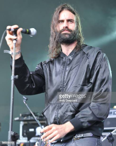 Andrew Wyatt of Miike Snow performs at Stubb's Ampitheatre during day three of SXSW 2010 Music Festival on March 19 2010 in Austin Texas