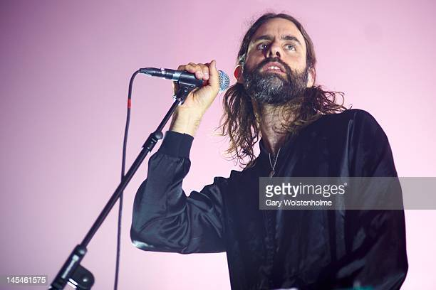 Andrew Wyatt of Miike Snow performs on stage at HMV Ritz on May 30 2012 in Manchester United Kingdom