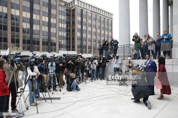 Andrew Wyatt spokesman for actor and comedian Bill Cosby speaks to the media after the defense's closing argument in the retrial of Cosby's sexual...