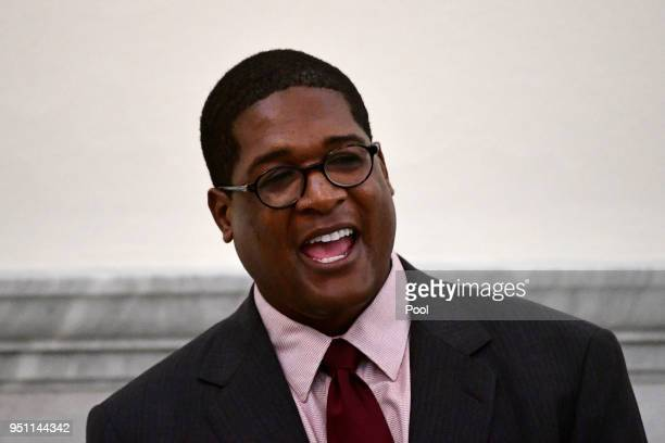 Andrew Wyatt spokesperson for actor and comedian Bill Cosby talks outside courtroom A for Cosby's sexual assault trial at the Montgomery County...