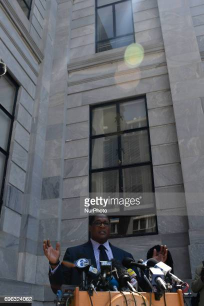 Andrew Wyatt spokesperson for Bill Cosby gives a statement on the deadlocked jury at a press conference outside the aggravated Indecent Assault trial...