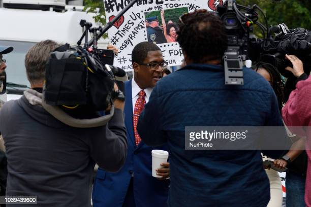 Andrew Wyatt spokesperson for Bill Cosby talks to media outside Montgomery County Court House as Bill Cosby appears before Judge Steven O'Neil in...