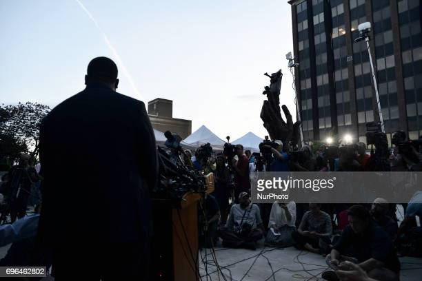 Andrew Wyatt spokesperson for entertainer Bill Cosby provides an update outside Montgomery Courthouse during the fourth day of jury deliberations...