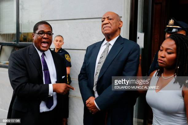 Andrew Wyatt spokesperson of American Actor Bill Cosby speaks to media as they exit the courthouse after a mistrial on the sixth day of jury...