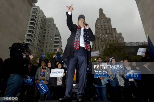 Andrew Yang founder of Venture for America and 2020 Democratic presidential candidate speaks during a campaign rally in New York US on Tuesday May 14...