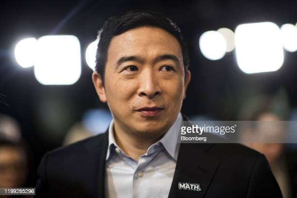 Andrew Yang, founder of Venture for America and 2020 Democratic presidential candidate, stands in the spin room following the Democratic presidential...
