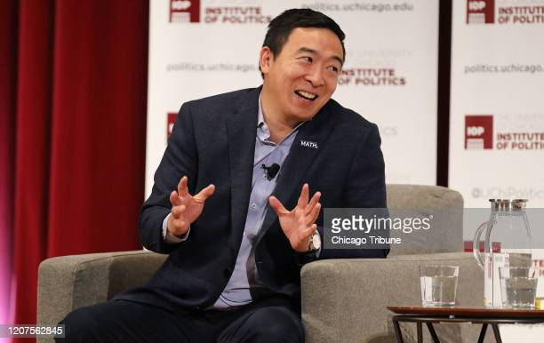 Andrew Yang talks with David Axelrod at the University of Chicago on December 5, 2019.