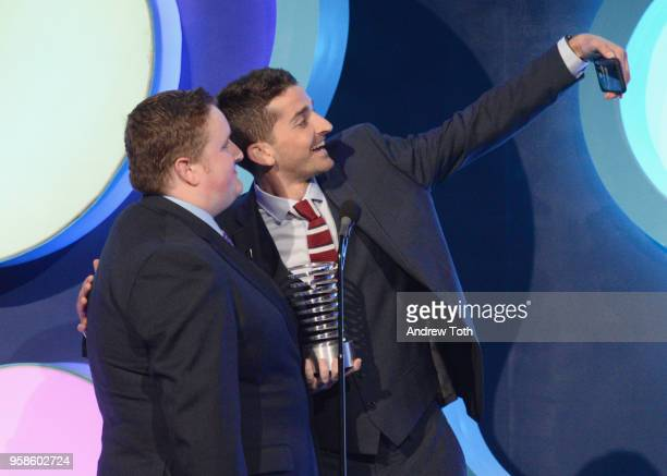 Andrew Yates and Brian Peters accepts award onstage at The 22nd Annual Webby Awards at Cipriani Wall Street on May 14 2018 in New York City