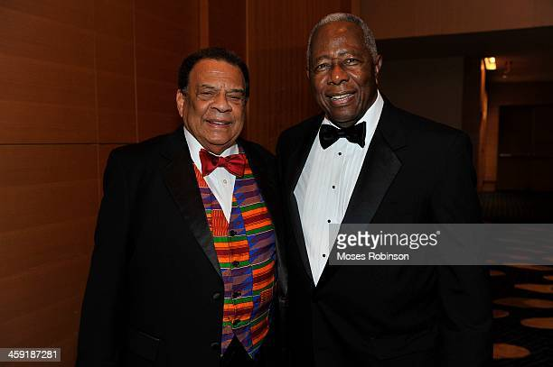 Andrew Young and Hank Aaron attend the 30th Annual UNCF Mayor's Masked Ball at the Marriott Marquis on December 21 2013 in Atlanta Georgia
